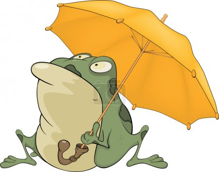 Illustration for The big green frog with a yellow umbrella - Royalty Free Image