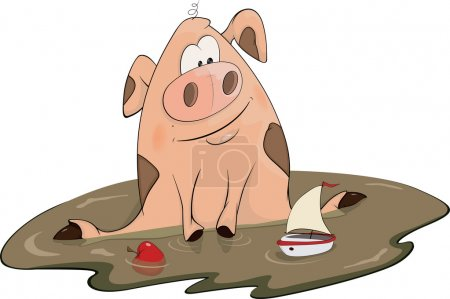Pig and a toy ship cartoon