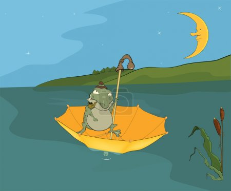 Travel of a frog. Cartoon
