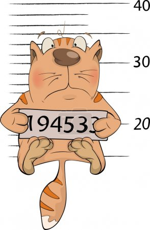 Cat the prisoner. Criminal mug shot. Cartoon.
