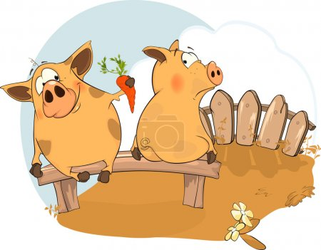 Illustration for 'Let's be friends' - a story about two pigs - Royalty Free Image