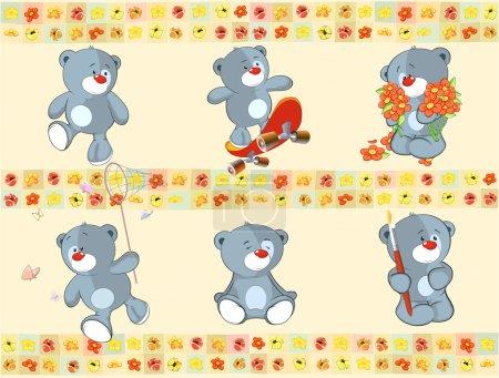 Illustration pour Bordure pour papier peint avec oursons farcis - image libre de droit