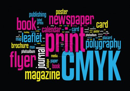 Illustration for Printing Word Cloud vector concept illustration on black - Royalty Free Image