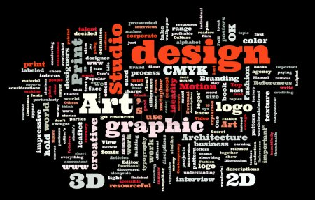 Illustration for Graphic design studio. Trendy print concept word cloud - Royalty Free Image
