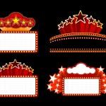Retro illuminated Movie marquee Blank sign. Vector...