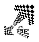 Clock arrows in the form of checkered flag
