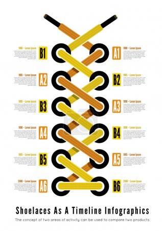 Shoelace as a timeline infographic illsutartion
