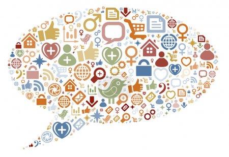 Social media icons texture in talk bubble shape co...