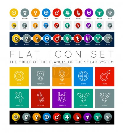 Illustration for Planet of Solar System. Flat icon vector set - Royalty Free Image