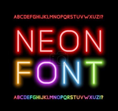 Ilustración de Letras de tubo de neón realista. alfabeto, ilustración vectorial - Imagen libre de derechos