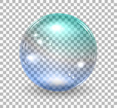 Transparent soap bubble Vector realistic illustration on checkered background