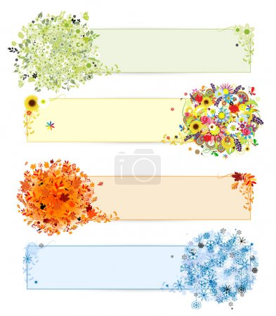 Four seasons - spring, summer, autumn, winter. Banners with place for your