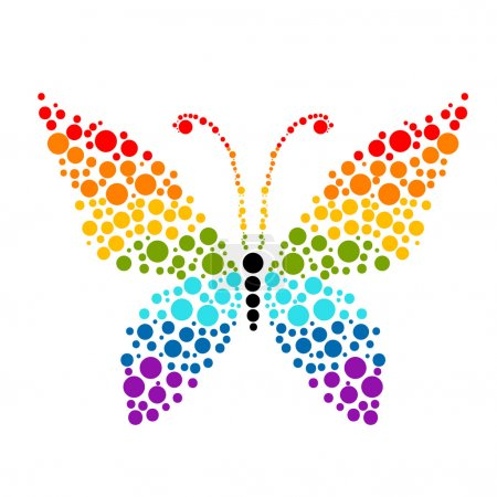 Illustration for Dots in shape of butterfly, rainbow colors for your design - Royalty Free Image