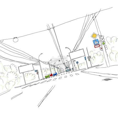 Illustration pour Croquis de la route de circulation en ville pour votre conception - image libre de droit
