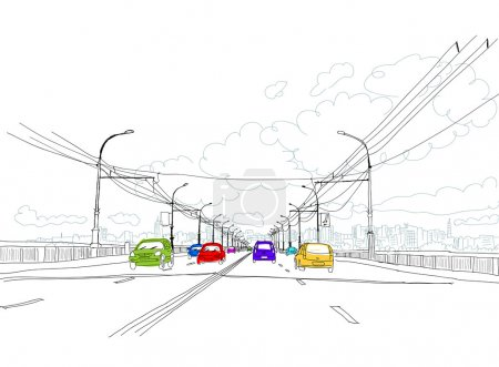 Эскиз дороги в городе для вашего дизайна