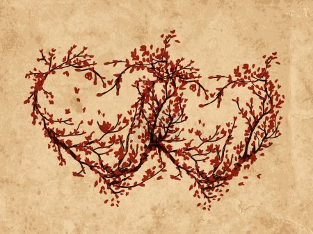 Illustration for Two hearts made from sakura tree for your design - Royalty Free Image