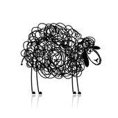 Funny black sheep sketch for your design