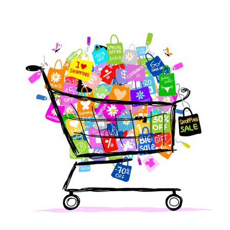 Illustration for Big sale concept with shopping bags into basket for your design - Royalty Free Image