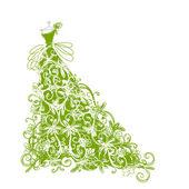 Vázlat a design zöld virágos ruhát