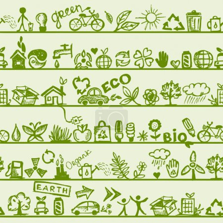 Illustration for Ecology concept. Seamless pattern for your design - Royalty Free Image