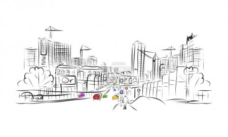 Photo for Sketch of traffic road in city for your design - Royalty Free Image