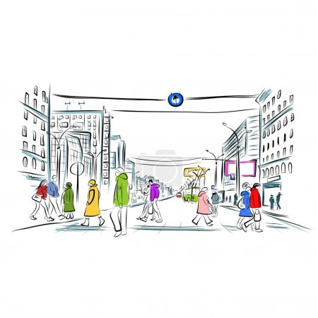 Illustration for Sketch of street with pedestrians for your design - Royalty Free Image