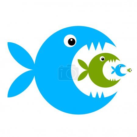 Illustration pour Dessin animé drôle de poisson pour votre conception - image libre de droit