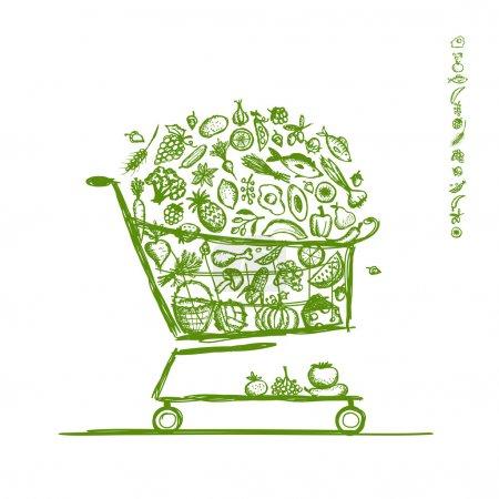Illustration pour Panier d'achat avec des aliments sains pour votre conception - image libre de droit