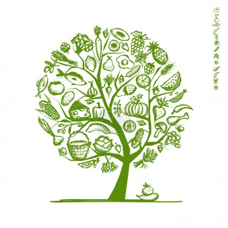 Illustration for Healthy food tree, sketch for your design - Royalty Free Image
