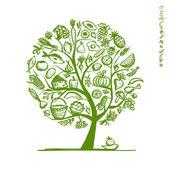 """Постер, картина, фотообои """"дерево здоровое питание, эскиз для вашего дизайна"""""""