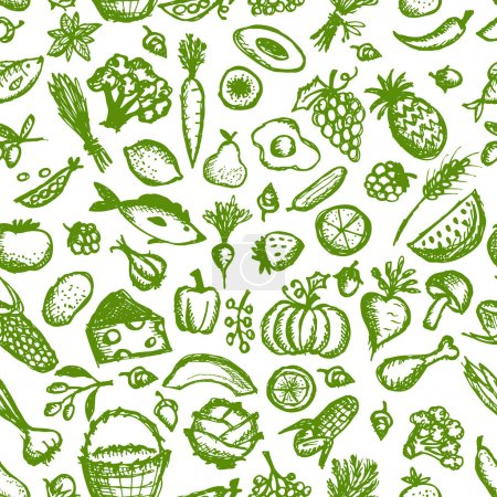 Illustration for Healthy food seamless pattern, sketch for your design - Royalty Free Image