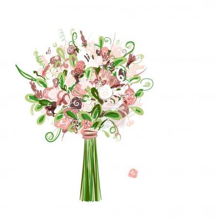 Illustration pour Bouquet de mariage floral pour votre design - image libre de droit
