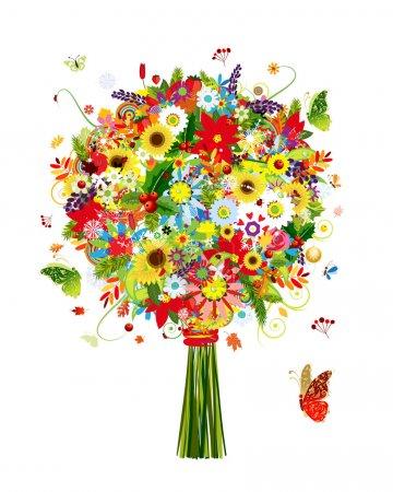 Illustration pour Bouquet quatre saisons avec feuille et fleurs pour votre design - image libre de droit