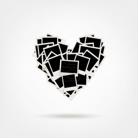 Ilustración de Montón de fotos, en forma de corazón, insertar tus fotos en marcos - Imagen libre de derechos
