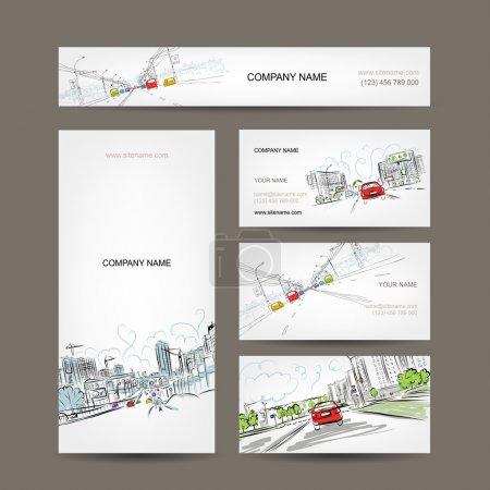 Photo pour Collection de cartes de visite, voitures sur la route de la ville pour votre conception - image libre de droit