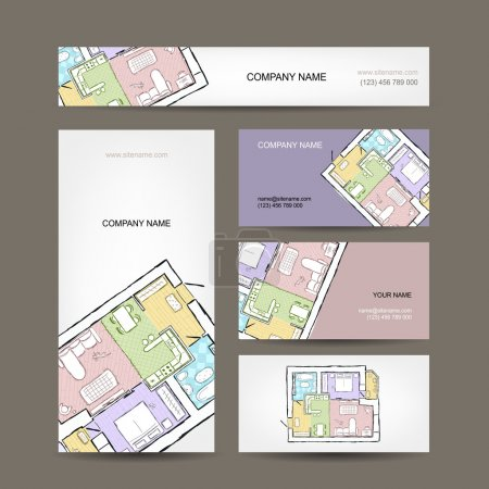 Illustration for Sketch of apartment. Business cards for your design. - Royalty Free Image