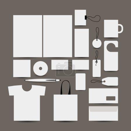 Ilustración de Objeto de diseño vacío: carpeta, bolso, etiqueta, taza, tarjetas, tshort, pluma, envolvente - Imagen libre de derechos