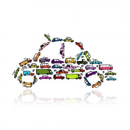 Illustration pour Forme de voiture faite de transport pour votre conception - image libre de droit