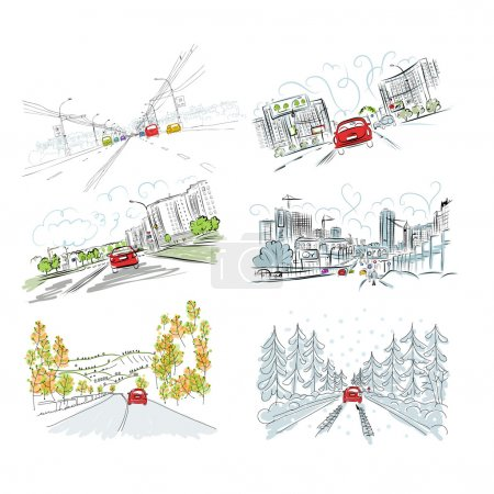 Photo for Cars on city road, set of hand drawn illustrations for your design - Royalty Free Image