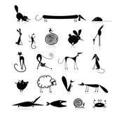 Set of 20 animals black silhouette for your design