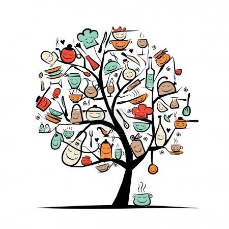 Illustration pour Arbre d'art avec ustensiles de cuisine, croquis dessin pour votre design - image libre de droit