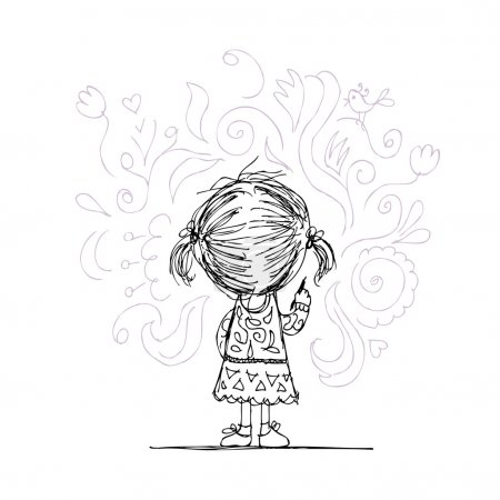 Illustration for Girl draws flowers on the wall, sketch for your design - Royalty Free Image
