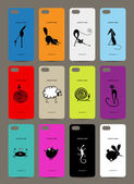 Mobile phone cover back  12 funny animals for your design