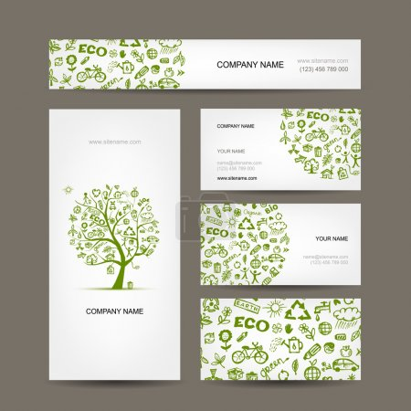 Illustration for Business cards design, green ecology concept - Royalty Free Image