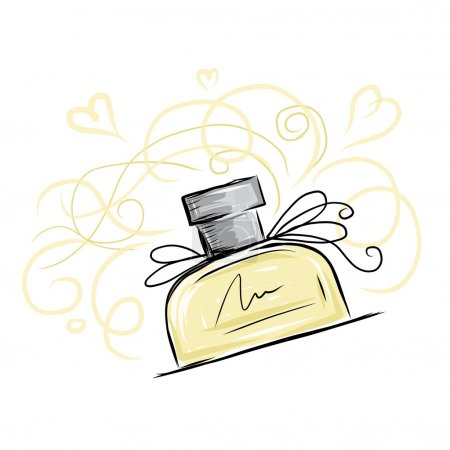 Illustration for Sketch of perfume bottle for your design - Royalty Free Image