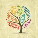 Art tree design with 7petal days of week...