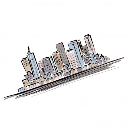 Illustration for Cityscape background for your design, urban art - Royalty Free Image