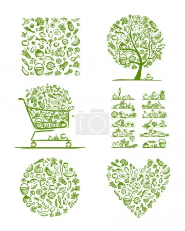 Healthy food set, sketch for your design