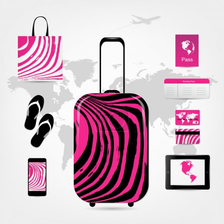 Travel suitcase with set of icons, pink zebra style