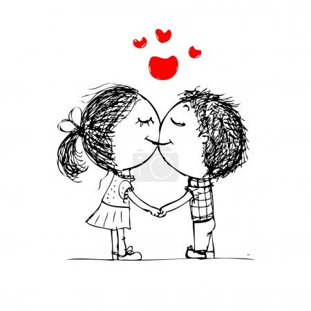 Couple kissing, valentine sketch for your design